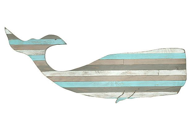 "One Kings Lane - Seaworthy Style - 41"" Pallet Moby Whale"