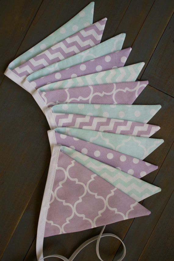 Purple Lavender & Teal Aqua Green Fabric by MsRogersNeighborhood