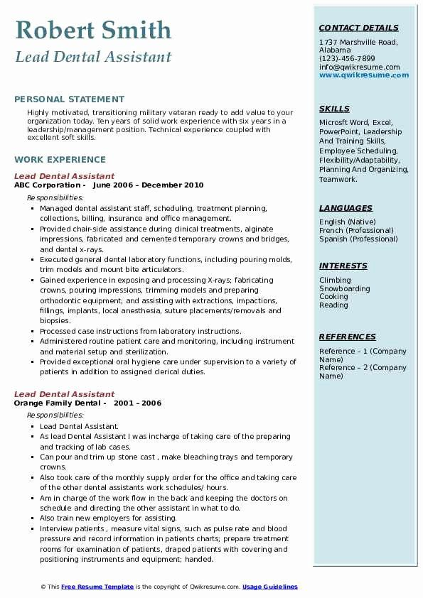 Dental Assistant Resume Example Lovely Lead Dental Assistant Resume Samples Resume Examples Medical Assistant Resume Dental Assistant
