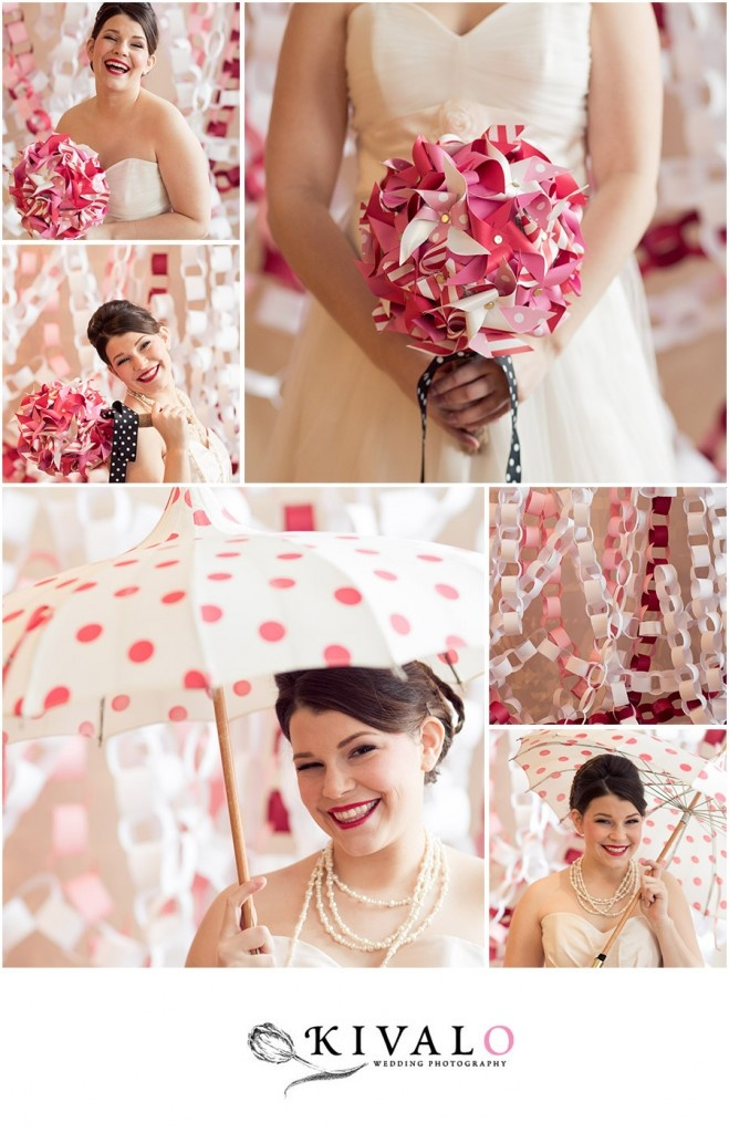 DIY wedding Pinwheel Bouquet. But what I like in this is the paperchain idea. Could be a fun way to cover the bleacher wall.