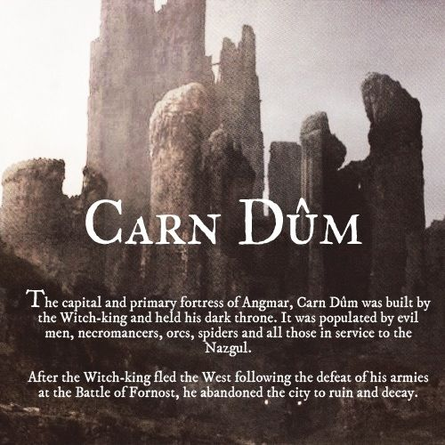 Carn Dûm, in other words, is the place Radagast sees the Necromancer for the first time and finds the Morgul Blade, Hobbit fans.