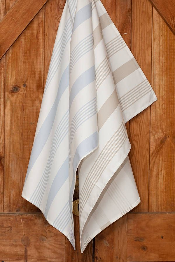 £8 Ticking Stripe Cotton Drill Tea Towel - Strong Cotton Drill Ticking Stripe Tea Towel  A absorbent and strong cotton drill ticking stripe tea towel available in a soft pale blue and a versatile taupe to fit in any kitchen. Finished size 45cms x 65cms with a strong loop for hanging.