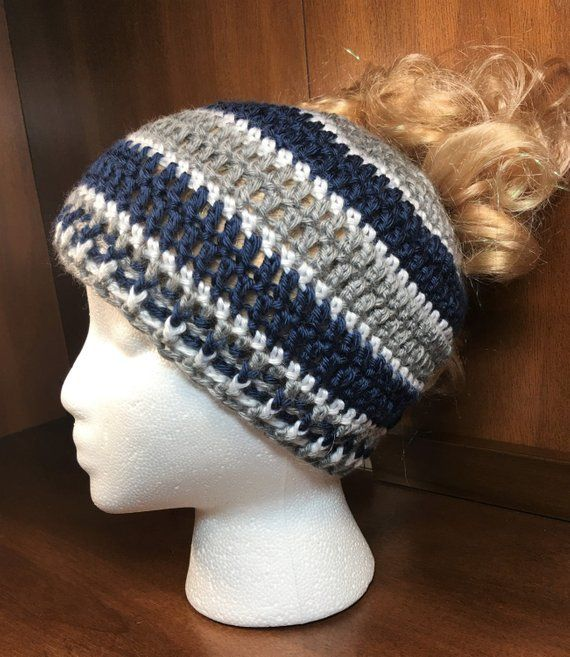 d1d260fe9 Dallas Cowboys Hat OR Messy Bun Beanie - Choose Your Style! - Pony ...