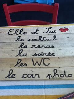 panneau signalétique pour un mariage français!