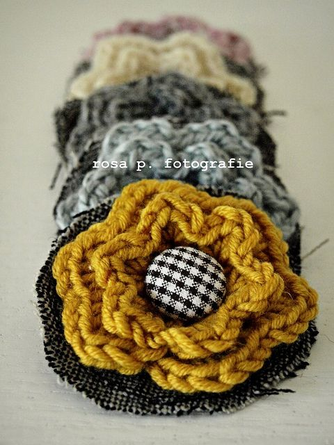crochet and fabric - cool idea and colors