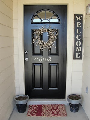"""Paint front door. I'd like to stencil the door with """"Welcome"""" in gold paint."""
