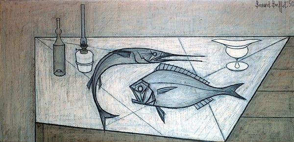Bernard Buffet // Nature morte aux poissons - 1950  huile sur toile // ©ADAGP