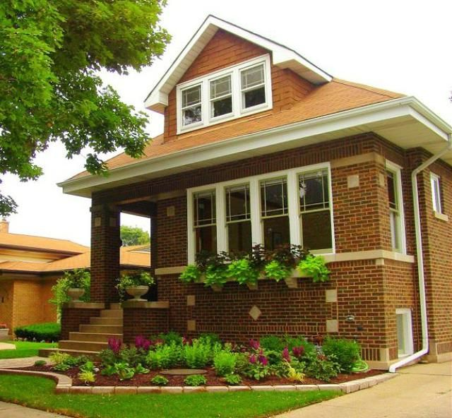 Bungalow Homes - Photos of Traditionally Small House Styles: Chicago Bungalow - Bungalows in and near Chicago, Illinois were often simple working class homes constructed of brick. Find facts below.  Like bungalows in other parts of the country, many Chicago Bungalows have leaded glass windows, natural woodwork, ceramic tile, and other Craftsman details. Distinguishing characteristics of the Chicago Bungalow include: Brick construction, Full basement Narrow frontage, Hipped roof