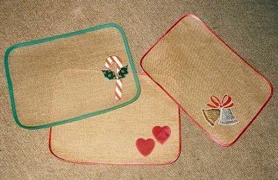 Manteles individuales confeccionados en yute manteles for Manteles individuales de tela