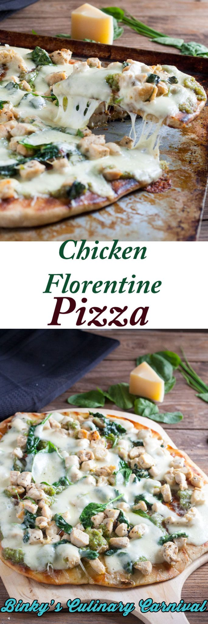 #Chicken #Florentine #Pizza with #Garlic Scape #Pesto  #ifbcx #binkysculinaryc #garlicscape via @binkysculinaryc