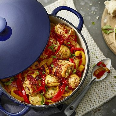 piri piri chicken with roasted new potatoes and peppers - from Lakeland