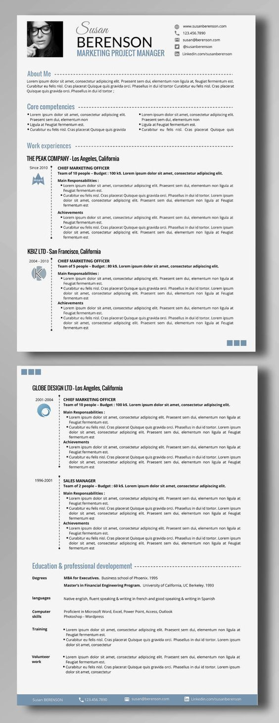 Because you are worth a smart resume / CV… Take your resume to a whole new level customizing this elegant and professional template (2 pages -: