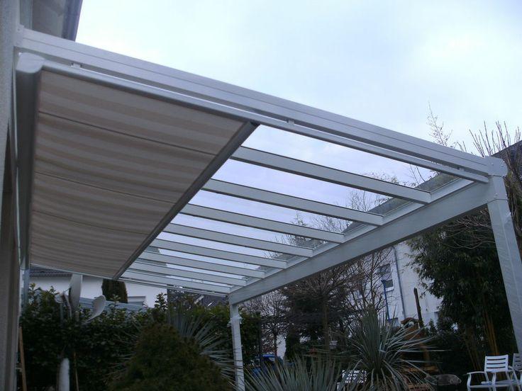 """Terrassenüberdachung aus Alu bis 150Kg/m² VSG 8mm """"Klar"""" mit Markise 3m x 2,5m"""
