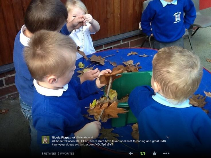 Threading leaves onto sticks - a perfect autumn activity! Photo from Nicola Fitzpatrick via twitter