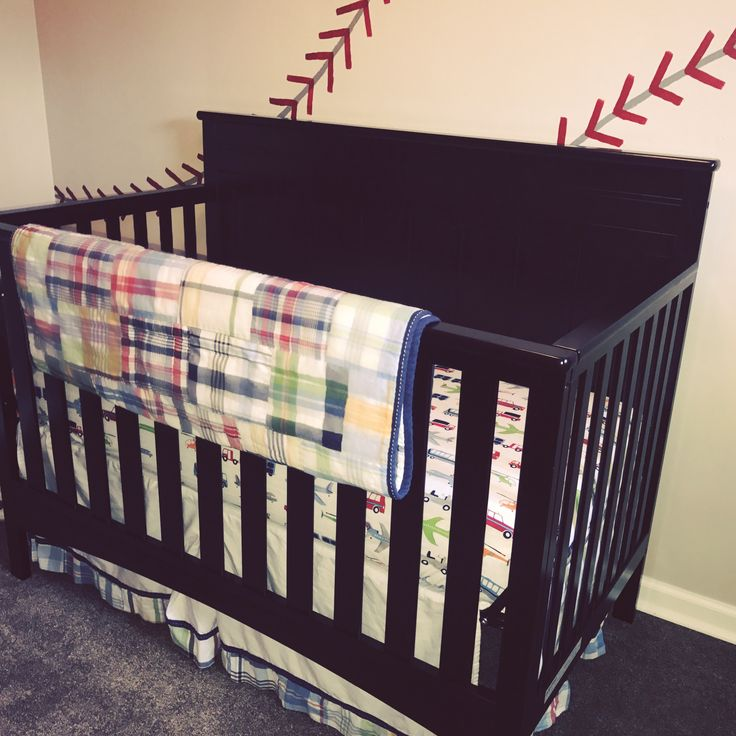 Pottery Barn Madras crib bedding in baseball bedroom