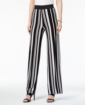 Alfani Striped Palazzo Pants, Only at Macy's - Black XXL