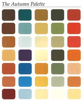 AUTOMNE : couleur chaudes et un peu assourdies, terres orange, tomate foncée, or, jaune, bleu pétrole, vert-jaune, blanc crémeux, écru, beige, turquoise, bronze, brun foncé,…. Couleurs à éviter : noir, bleu marine, gris, rose, bordeaux, pourpre, rouge vif,… Accessoires : or, bronze, cuivré, toutes les couleurs cuir,… http://www.carolinedaily.com/forum/femmes-d-automne-vos-couleurs-t22114.html