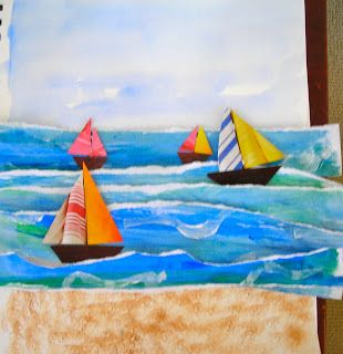 Fine Lines--sails are painted like eric carle, water white caps are from tears in paper, can use sandpaper for beach
