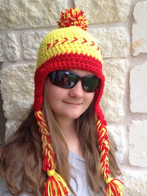 Softball Hat with Earflaps, Team Spirit Hat, Softball Beanie, Crochet Hat....need this in baseball too!