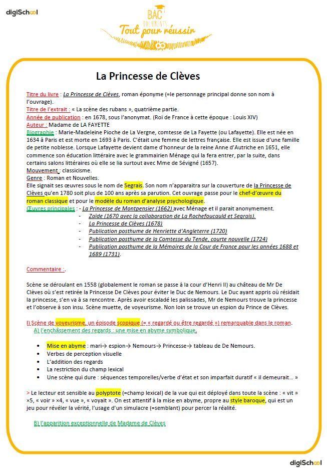 Exemple de fiche de révision - Bac Français oral