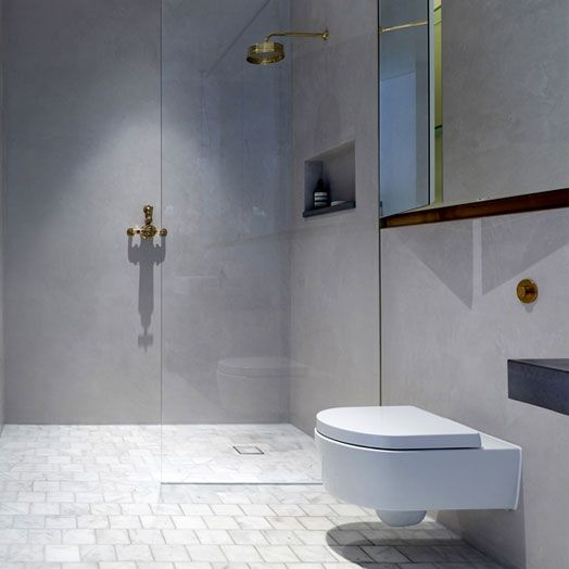 Tadelakt was the natural choice for both bathrooms of the show flat in the redevelopment and transformation of London's best loved landmarks.
