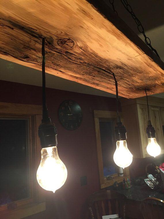 Reclaimed Wood Edison Bulb Chandelier by DAngeloWoodcraft on Etsy