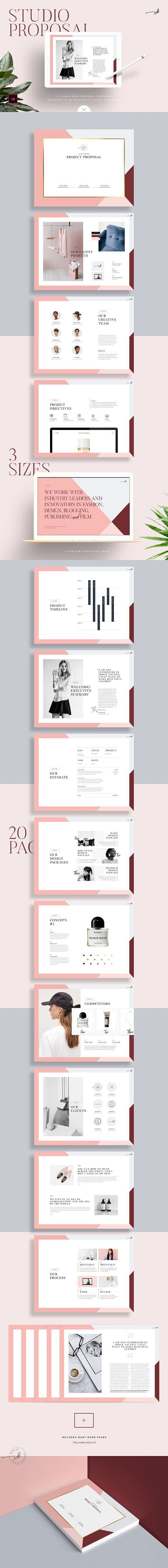 Studio Proposal by Studio Standard on @creativemarket Ready for Print Magazine and Brochure template creative design and great covers, perfect for modern and stylish corporate appearance for business companies. Modern, simple, clean, minimal and feminine layout inspiration to grab some ideas.