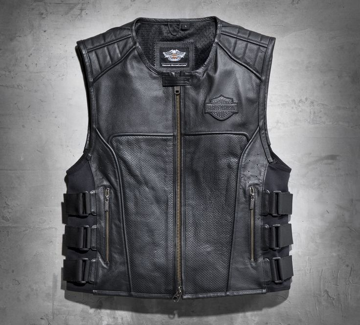 Perforated genuine leather makes the Swat II Leather Vest incredibly breathable while adjustable side tabs add a unique style feature and a customizable fit. | Harley-Davidson Men's Swat II Leather Vest