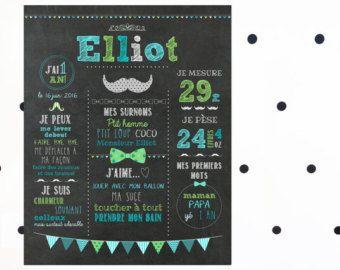 Affiche premier anniversaire personnalisée Éléphant