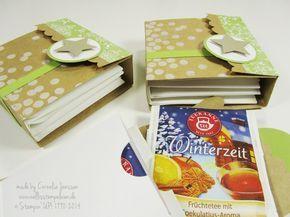Eine Anleitung für ein schnelles Teebeutelbuch. Ich habe es aus sandfarbenem Karton und dem Designpapier Stille Nacht von Stampin' UP! gemacht. Verziert mit dem Stempelset Dotty Angles sowie Farngrünem Baumwollband.