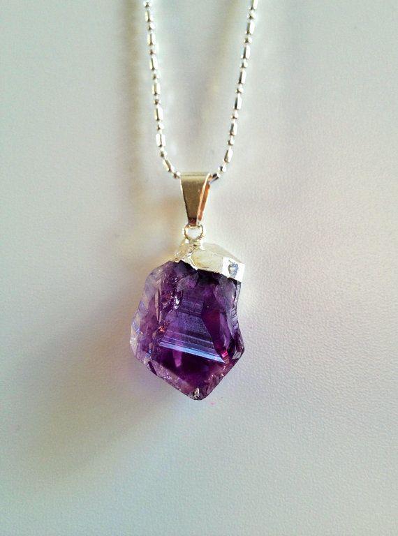 Amethyst Crystal Necklace, Purple Amethyst Silver Plated, Raw Crystal Jewelry