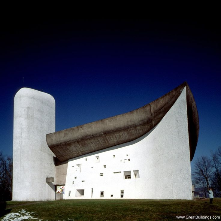Great Buildings Image - Notre Dame du Haut, or Ronchamp Notre Dame du Haut, or Ronchamp, by Le Corbusier, at Ronchamp, France, 1955. Modern Expressionist style