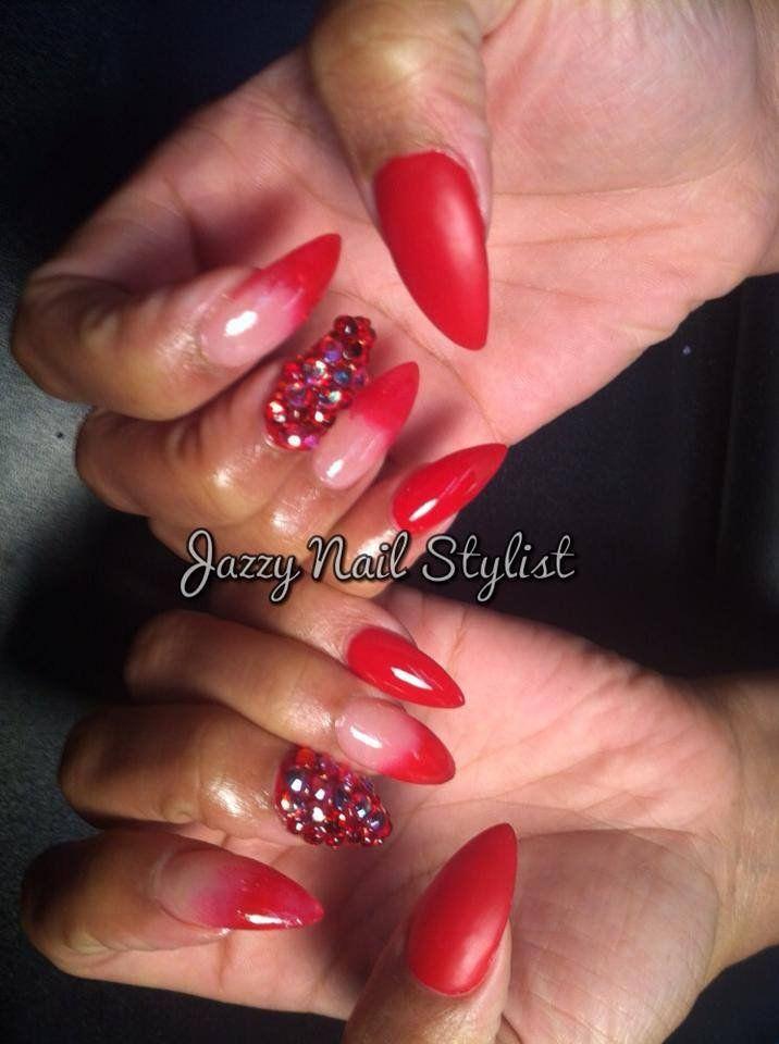 Jazzy Nail Stylist - ombre røde tips om stiletto negler med swarovski bling negler og matt finish - Atlanta, GA, USA