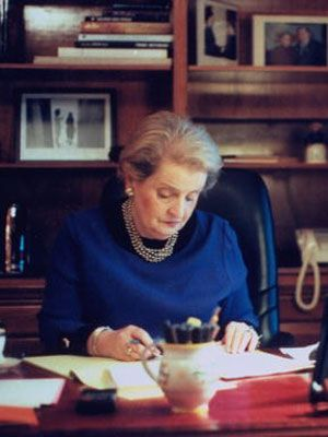 Madeleine Albright 					 					 						First female secretary of state.