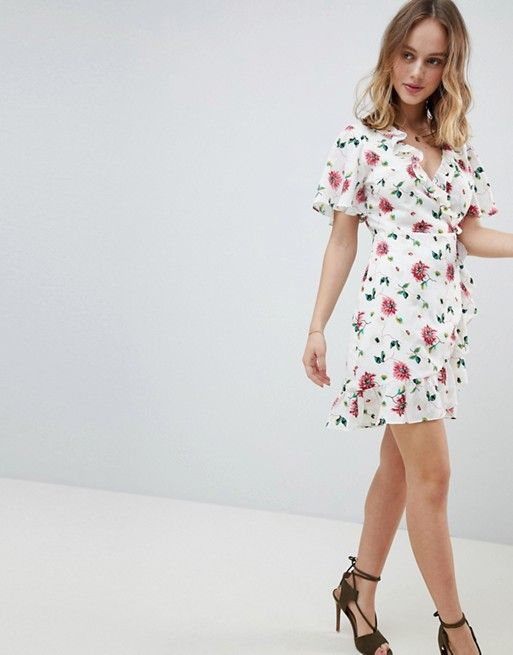 faece1db8c2a Glamorous Petite | Glamorous Petite Mini Wrap Dress With Ruffle Hem And Tie  Waist In Ditsy Floral