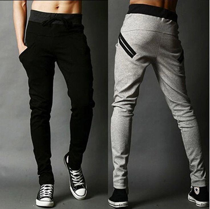 Nouveaux 2015 hommes Joggers mode sarouel pantalon Hip Hop Slim Fit pantalon hommes pour Jogging danse 3 couleurs sport pantalons(China (Mainland))