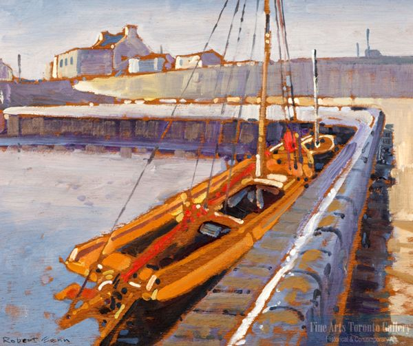"""Quay, Cleggan"" by Robert Genn. Oil on panel (10""x12"")."