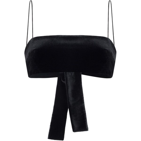 Rasario Velvet Bandeau Top ($360) ❤ liked on Polyvore featuring tops, rasario, black, bandeau tops, bow bandeau top, spaghetti-strap tops, bow top and bandeau bikini tops