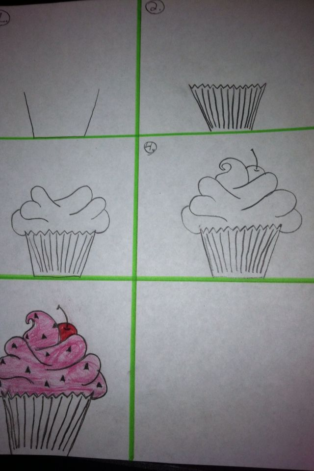 how to draw a cupcake with frosting