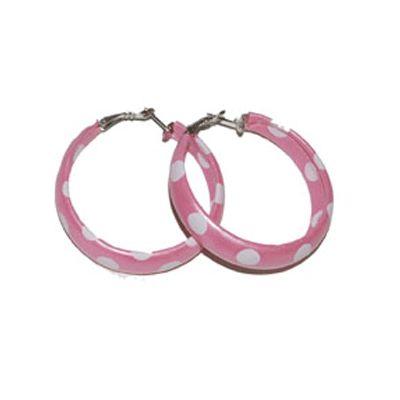Oorbellen jaren 50 roze/wit. Ronde dames oorbellen in de kleur roze met witte stippen.