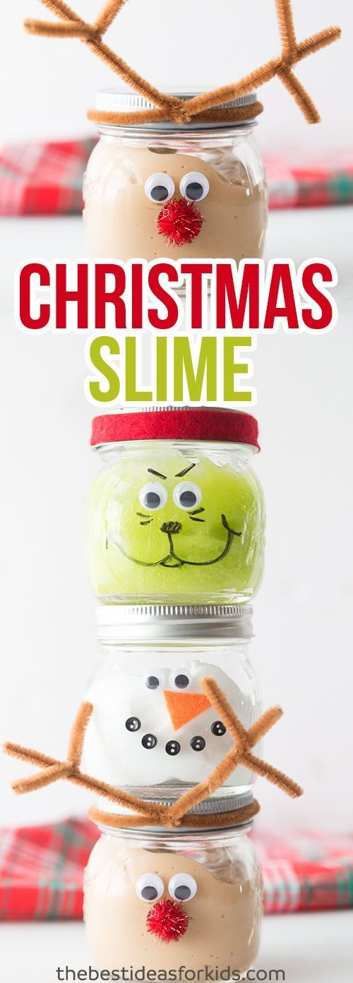 These Christmas Slime Jars are so fun to make as a Christmas craft or to give as a Christmas gift.  Kids will love playing with this slime! This slime recipe is no borax and easy to make! Only 3 ingredients. Kids will love making this Christmas mason jar craft! Christmas Slime ~ Grinch Slime ~Snowman Slime ~ Rudolph Slime ~ Green Slime ~ Brown Slime~ Christmas Party Ideas ~ Christmas Mason Jar Ideas ~ Slime Recipe ~ Christmas activities for preschoolers