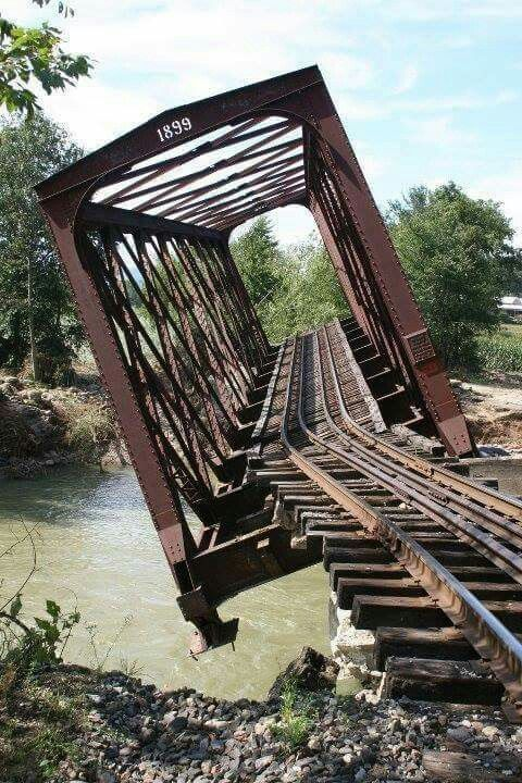 Bridge in Chester, Vermont after Hurricane Irene on I Love Trains