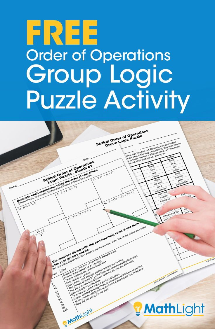 Order of Operations Logic Puzzle Group Activity | Order of ...
