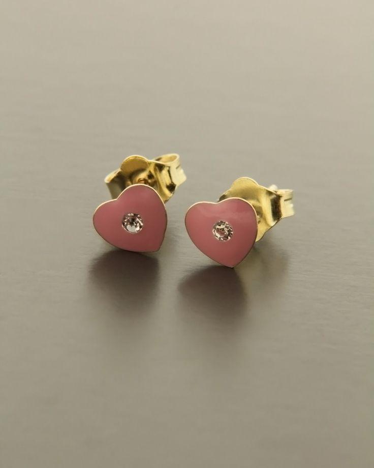 Παιδικά σκουλαρίκια καρδιές χρυσά Κ9