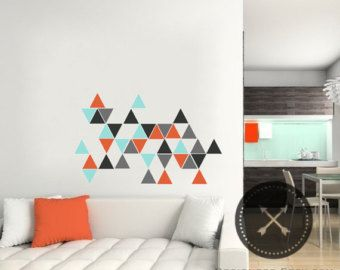 """3.5"""" Triangle Wall Decals - Set of 45 - Five Colors"""