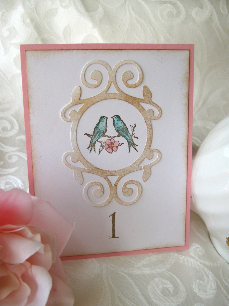 Shabby Vintage Style Pink and Aqua Lovebirds Wedding Table Numbers