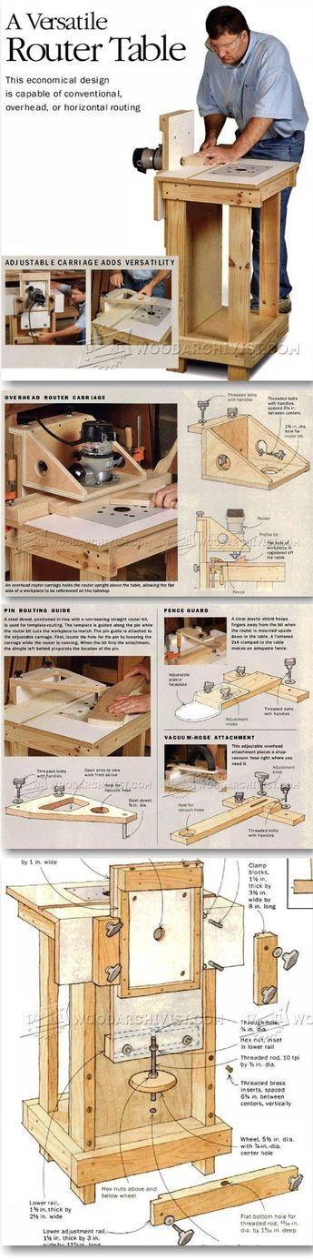 Horizontal Router Table Plans - Router Tips, Jigs and Fixtures | WoodArchivist.com #WoodworkingPlans