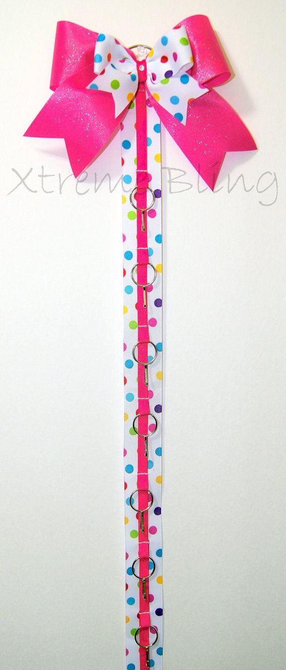 Rainbow Dots Bow/Cheer Bow Holder by XtremeBling on Etsy, $21.00