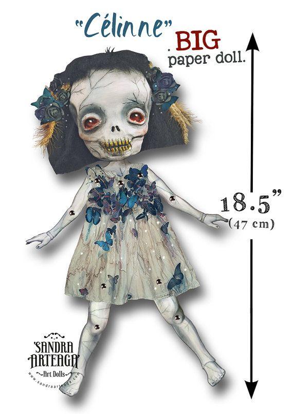 Celinne  BIGGER Paper Doll articulated  skull by SandraArteagA