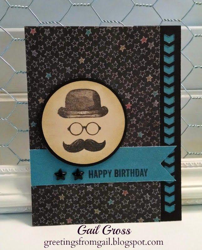 Greetings from Gail: A Manly Birthday Card #ChalkItUp #C1593HatsOff-HostessRewards #ChevronBorderPunch